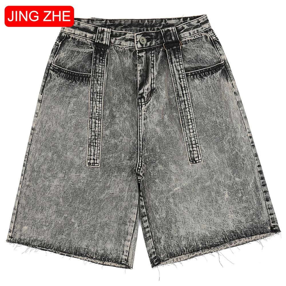 Denim Shorts Men Retro Distressed Print Ribbons Jeans Summer Punk Cool High Street Style Shorts Hipster All-match Streetwear men
