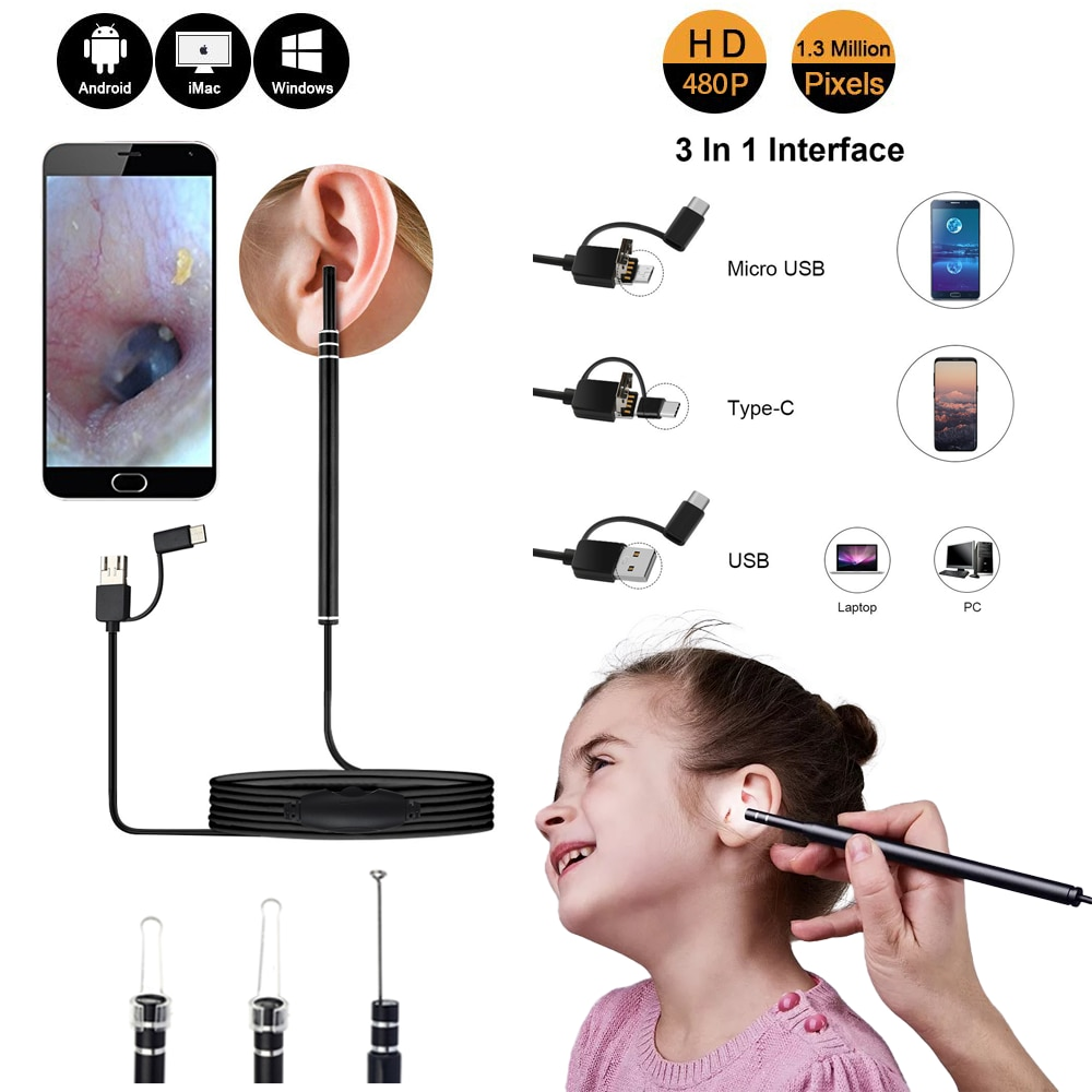 Medical In Ear cleaner ear endoscope camera Otoscope Spoon mini camera scope Picker Ear cleaning Wax Removal Visual Android PC