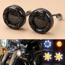 2x Gloss Black Fire Ring Bullet 1157 Dual LED Amber White Turn Signal Light For Harley Softail Dyna Touring Sportster