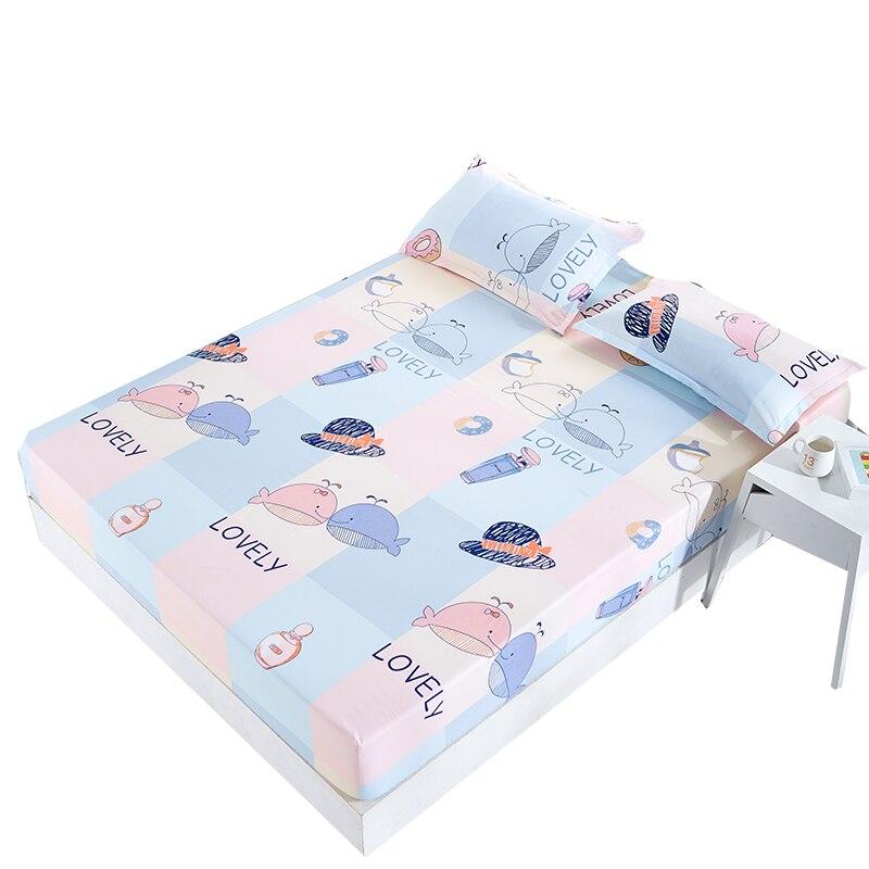 2019 ballena encantadora de dibujos animados sábana ajustada de poliéster-Algodón ropa de cama Funda de colchón redonda protege 120*200 cm/150*200 cm/180*200 cm