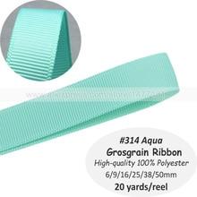 (20 yardas) #314 AQUA azul 6mm 9mm 16mm 25mm 38mm 50mm tejer grogrén (ligamento tafetán cinta de alta calidad 100% tejer grogrén (ligamento tafetán de poliéster DIY cintas