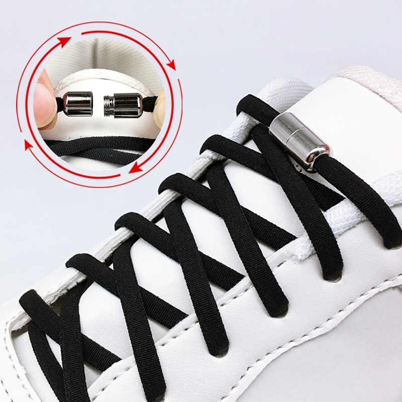 Elastic No Tie Shoelaces Semicircle Shoe Adult Laces For Kids and Sneakers Shoelace Quick Lazy Metal