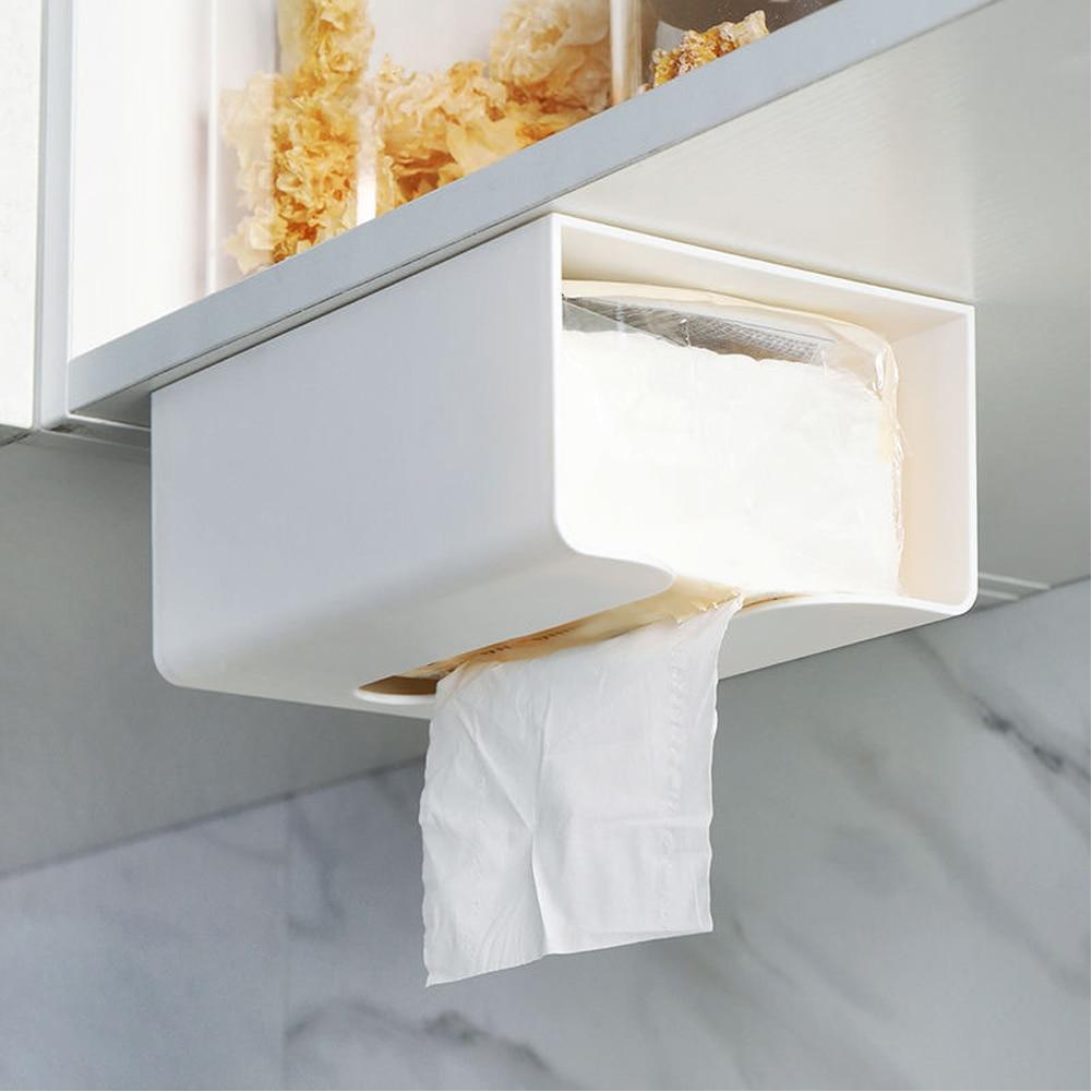 Auto estante de almacenamiento adhesivo dispensador montado en la pared cocina punzón soporte de papel libre coche toallita caja de pañuelos decoración del hogar
