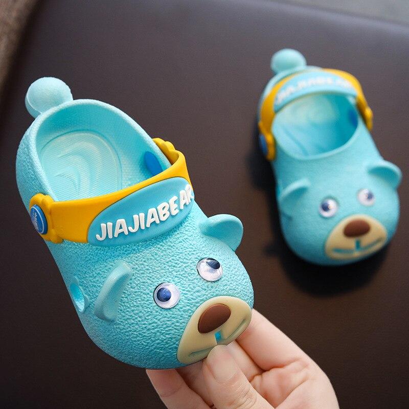 Zapatillas para niños bebés, niñas, zapatos de cueva de verano, cabeza de perro antideslizante, fondo suave, zapatillas de bebé, zapatillas lindas de 1-3 años, zapatos de playa chicas