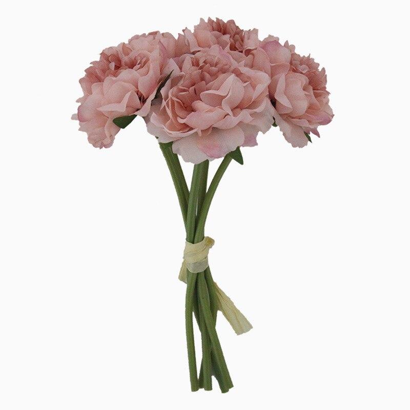 5pcs 6 colors 5 Heads Peony Bouquet Artificial Flowers Wedding Decoration Fake Flowers Home Decor Silk Flower Bridal Bouquet
