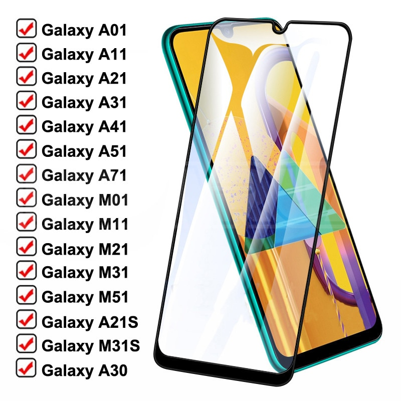 999D Protective Glass For Samsung Galaxy A01 A11 A21 A31 A41 A51 A71 Screen Protector M01 M11 M21 M3