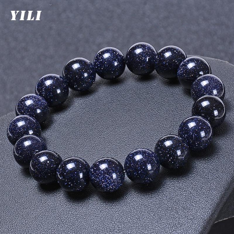 8-12mm Natural Blue Sandstone Beads Bracelet Solar System Bracelets Jewelry Gift for Women Men Lover