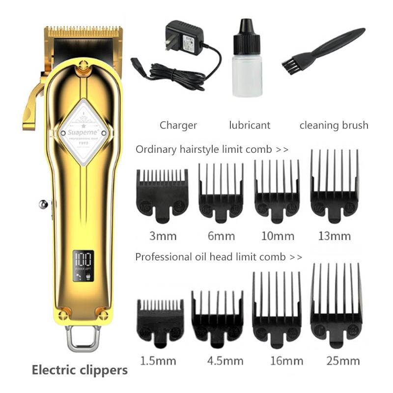 Aparador de cabelo profissional, máquina de cortar cabelo para homens, conjunto básico, barbeador, aparador de pelos, recarregável