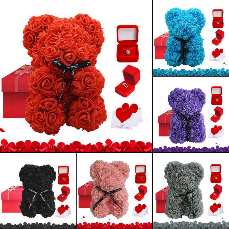 دمية دب مصنوعة من رغوة الصابون مقاس 25 سنتيمتر ، زهرة وهمية ، هدية رأس السنة ، فتاة ، عيد الحب مع عقد 100 لغة ، للنساء