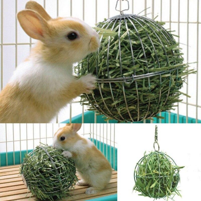 Adorable Bola de comida para mascotas plato de acero inoxidable/alimentador chapado hierba Rack Ball para conejo conejillo de indias mascota hámster Suppliy