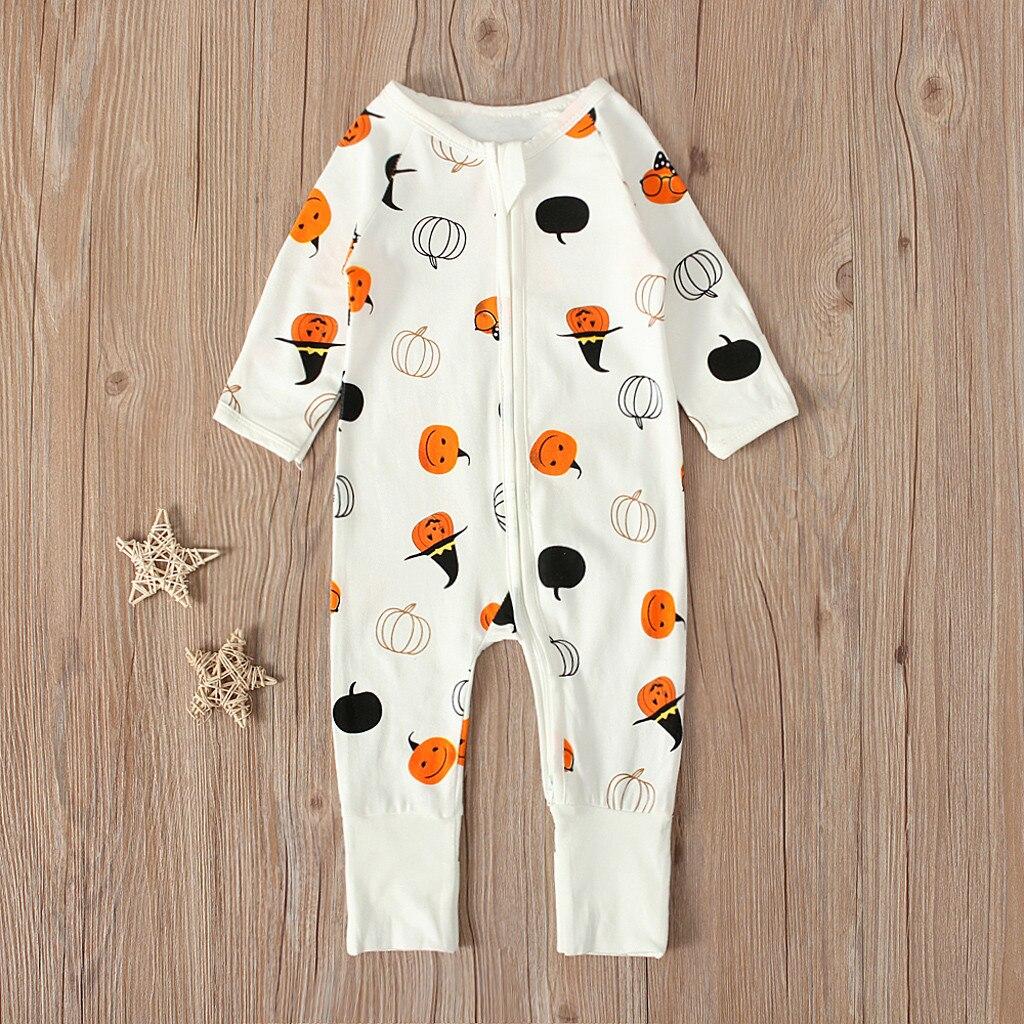 Mono para bebé o niña recién nacido, moda para niños, Halloween, dibujo de calabaza, mono, atuendos de un solo pecho, mono de otoño Infantil