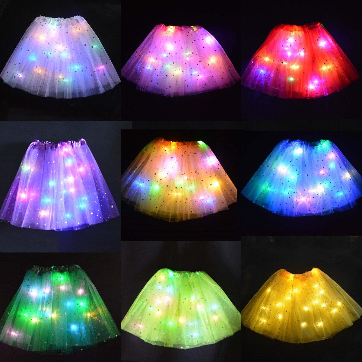 Flower Girl Kids Star LED Glowing Tutu Lighted Skirt Princess Party Tulle Pettiskirt Ballet Birthday Gift Costume Wedding Skirts