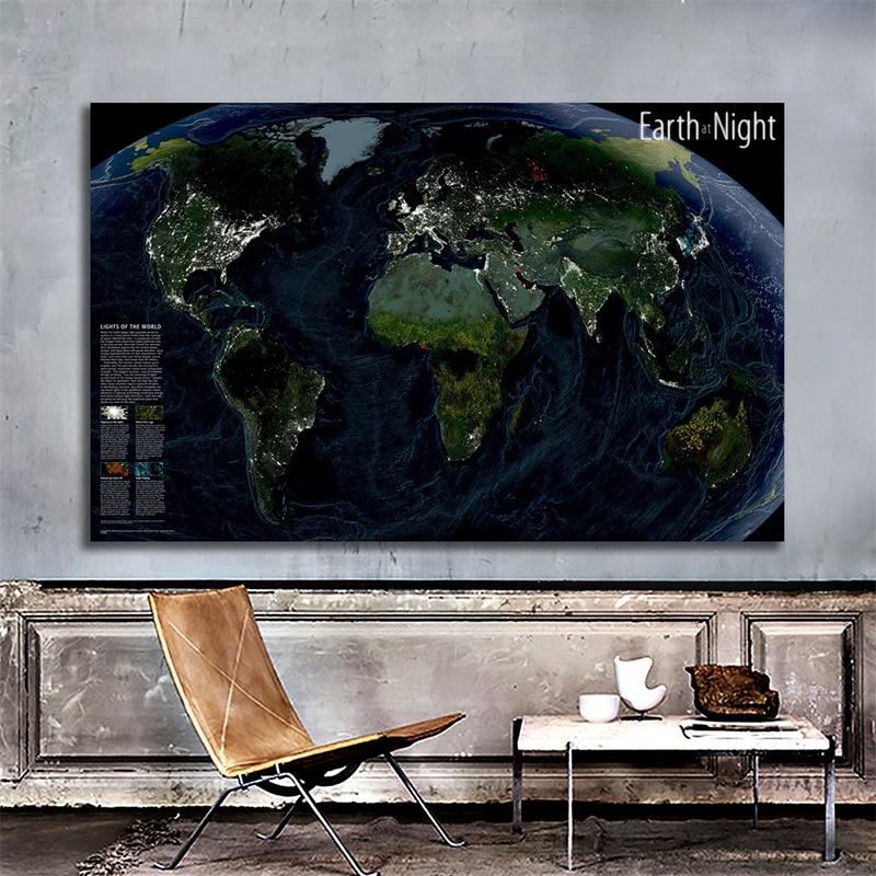 Спутниковая карта земля ночью 150x100 см Нетканая карта мира Карта мира Ночь мира настенный художественный плакат украшение дома