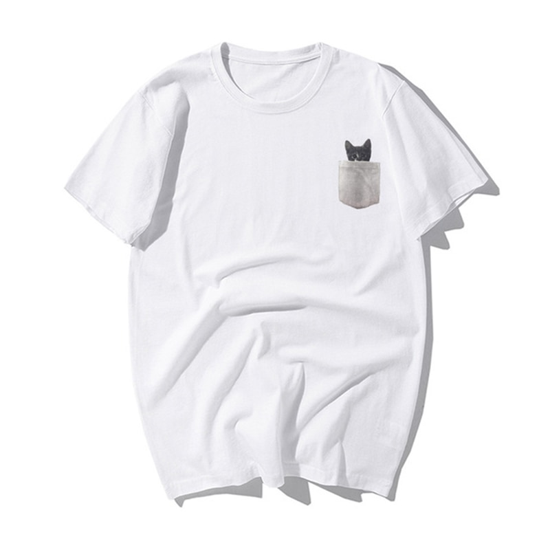 Fashion Ive Got A Cat In My Pocket Men T Shirt Summer Funny Cat Cute Pattern Print Tshirt Mens Casual Novelty Cotton T-shirt