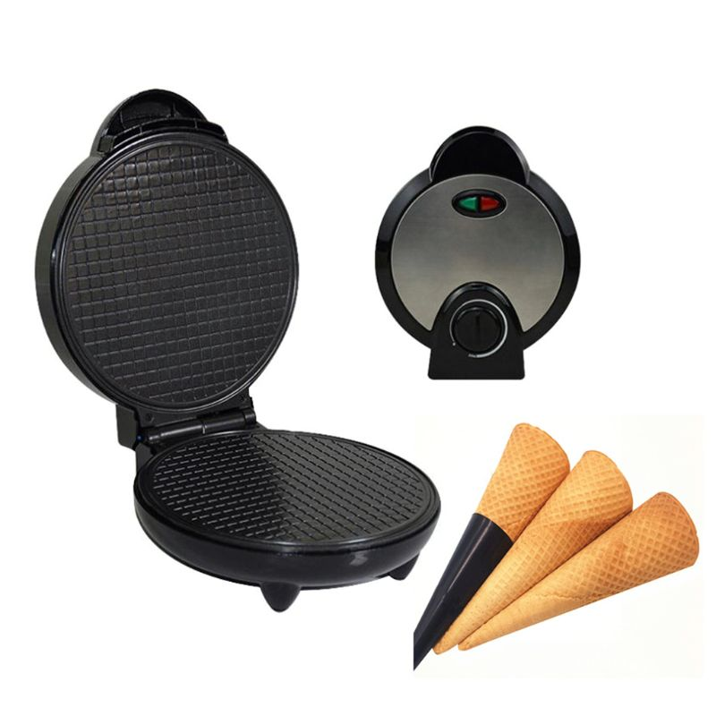 Máquina de hacer waffles de jarabe Stroopwafel eléctrico antiadherente redondo inoxidable