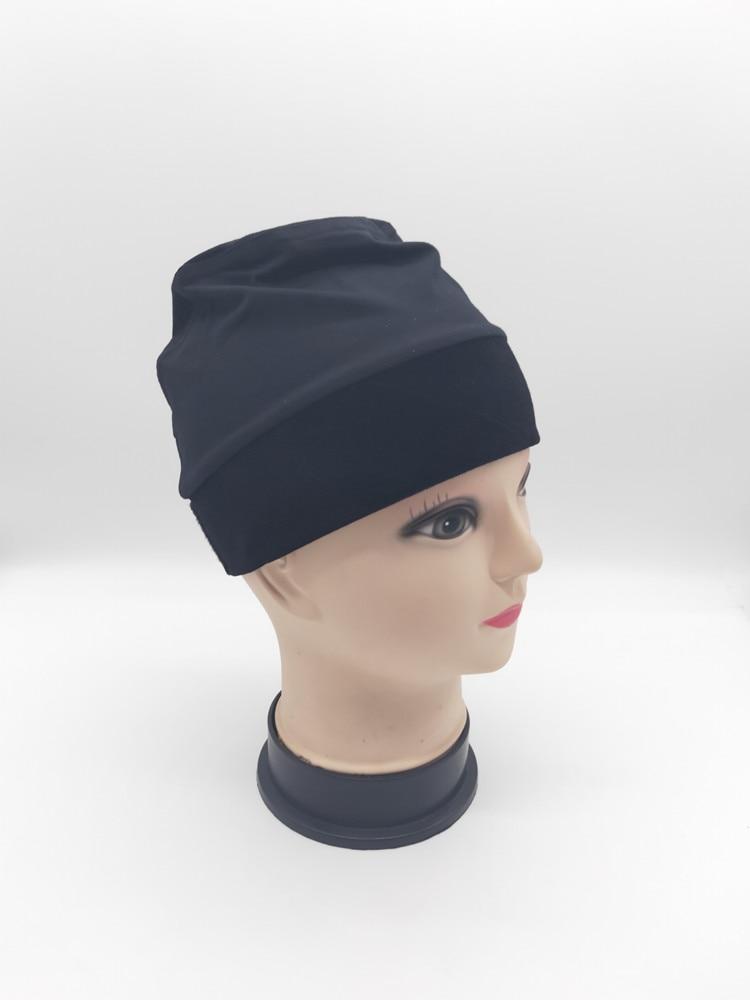 11,11 venta gorra de sujeción de Peluca de color negro con diadema de terciopelo alrededor para cancelar pacientes gorras cómodas y elásticas