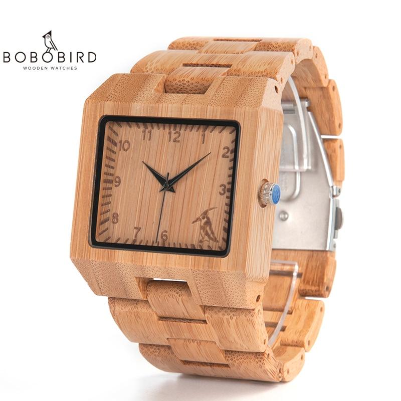 BOBO BIRD relojes de madera de bambú de alta calidad para hombre reloj analógico de cuarzo cuadrado de lujo relogio masculino V-L22