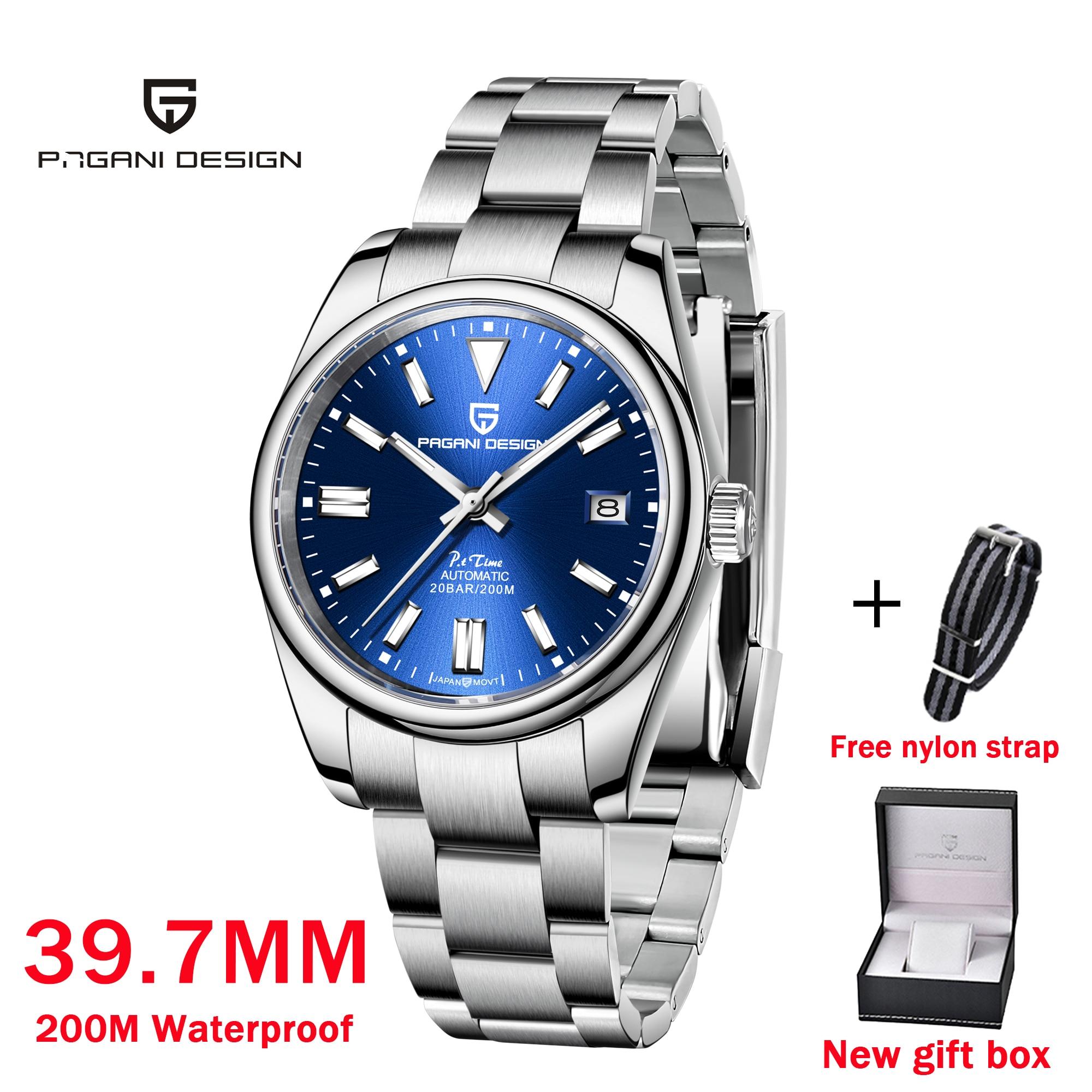 2021 Pagani تصميم جديد عادية موضة الرجال التلقائي ساعة ميكانيكية مقاوم للماء الياقوت الزجاج ليلة الخفيفة ساعة Reloj Hombre