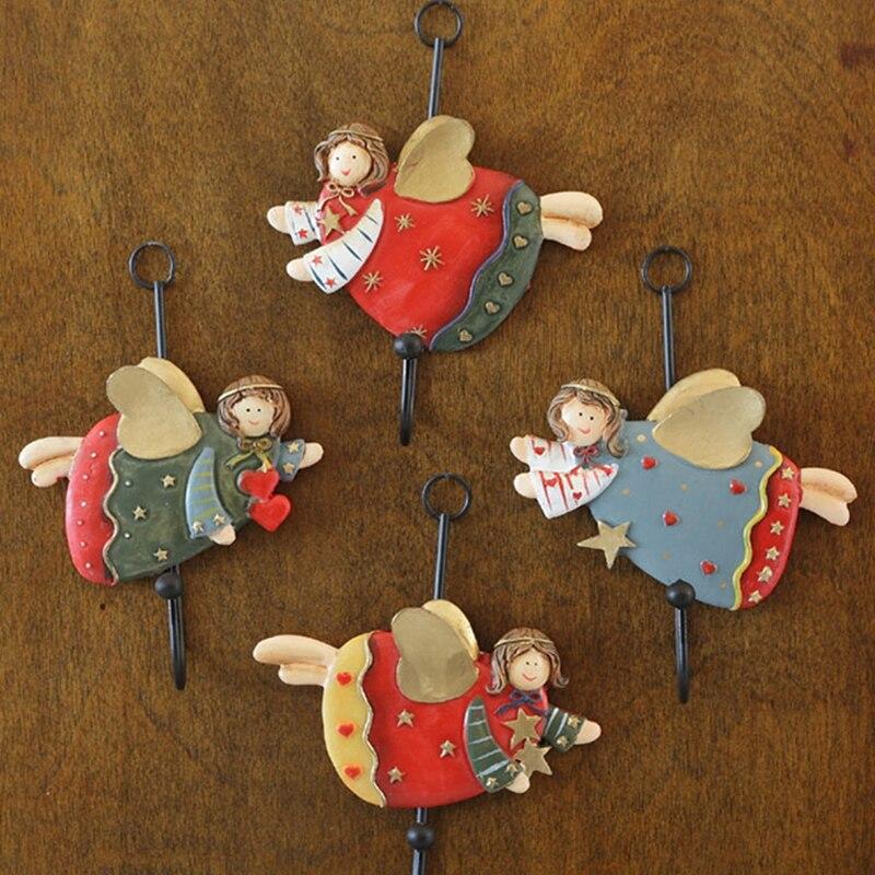 Ganchos de resina de dibujos animados ganchos creativos para pared para colgar ropa forma de Ángel decoración de pared artesanías colgador de Organización del hogar
