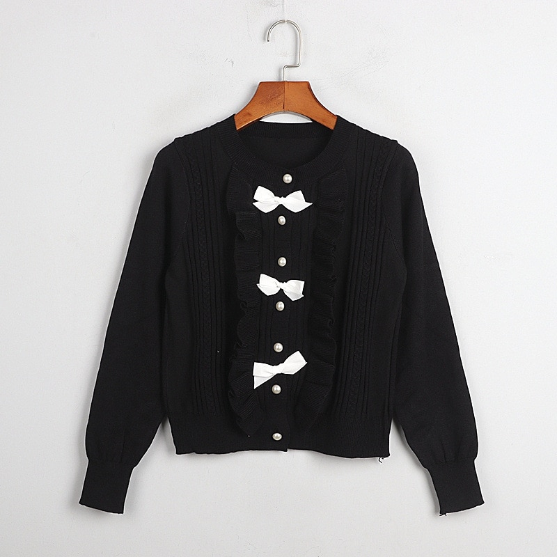 1101 2020   Autumn Sweater Free Shipping Crew  Neck Long Sleeve Kint   Black White Fashion Womens Clothes  S m L    dl