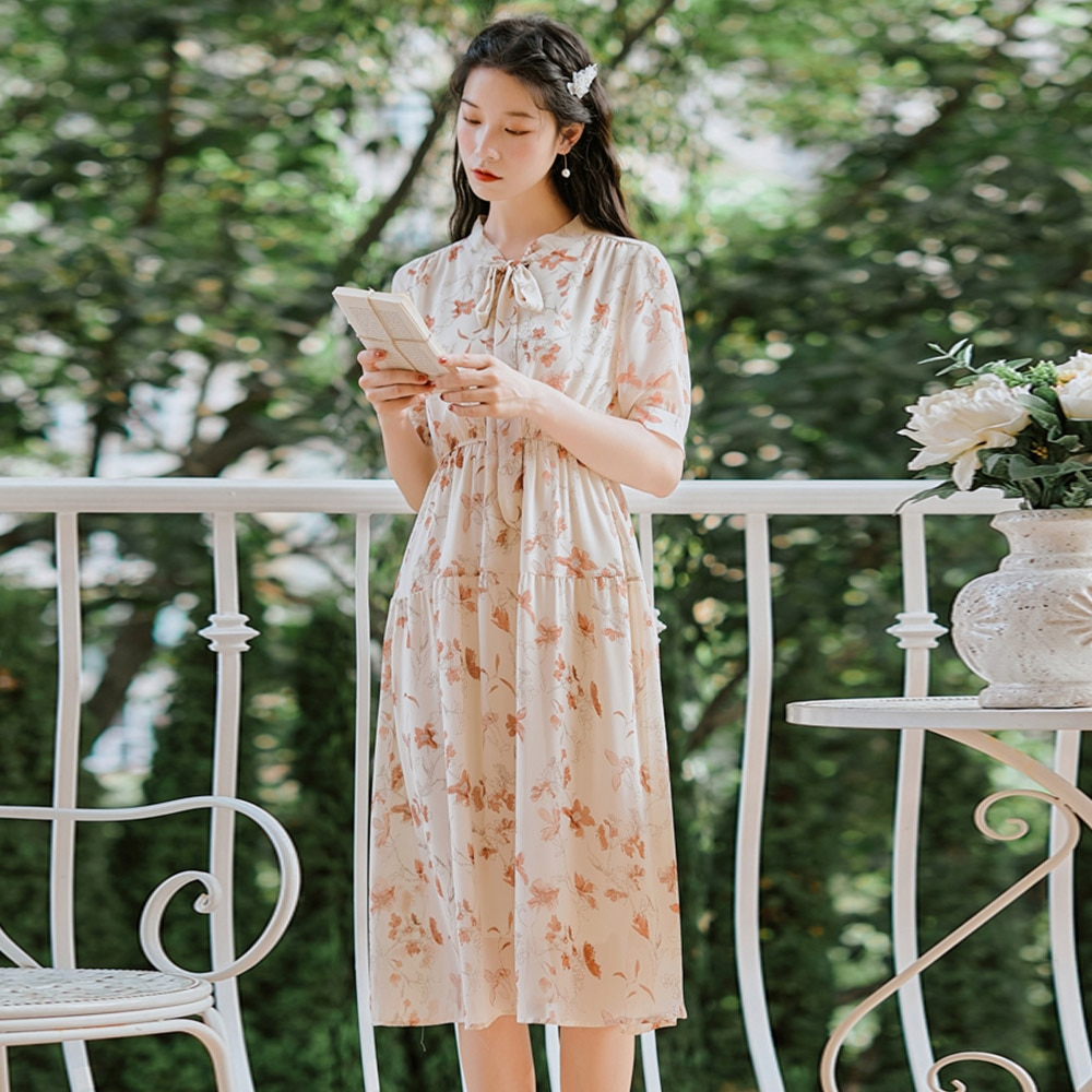 Banulin japonês mori menina verão feminino kawaii vestido arco pescoço floral impressão magro vestidos mujer chiffon coreano doce vestido