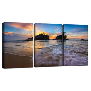 Flood Current Ocean Beach Canvas Painting Modern Poster Sunset Nature Landscape Framed Wall Art Nordic Decoration Picture