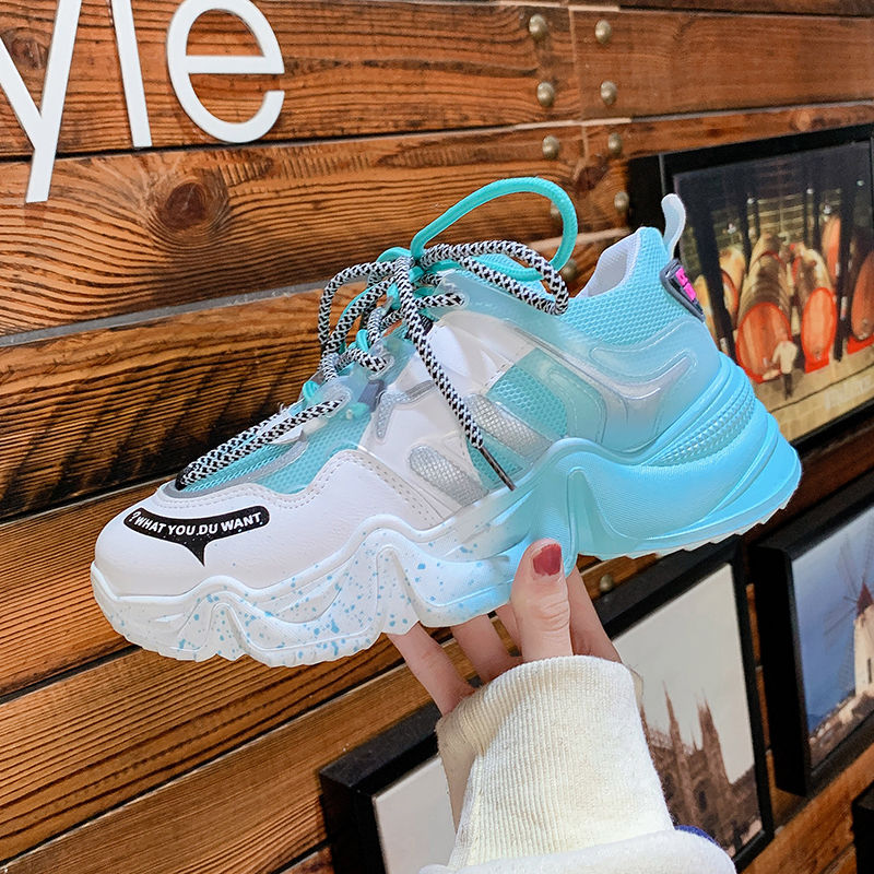 Platform Sneakers Women's Sports Shoes Buffalo Comfy Breathable Mesh Casual Trainers 2021 Female New Fashion Chunky Heels