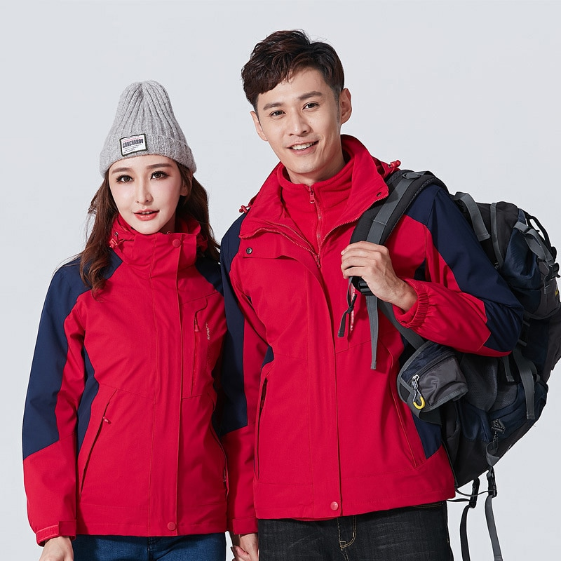 2021 Outdoor stormsuit three in one or two-piece couple ski mountaineering suit warm autumn and winter seal