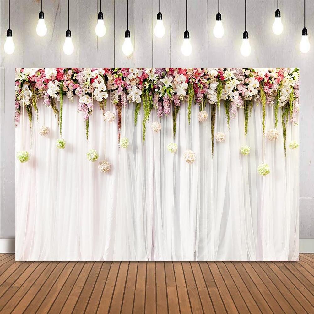 Fondo de fotografía Floral de boda blanco curtrain Rosa foto de flores...