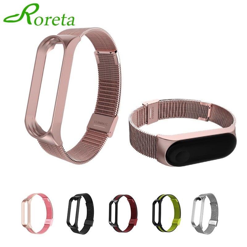 Roreta Bracelet de haute qualité pour Xiao Mi Band 5 4 poignet Bracelet en métal sans vis Bracelet en acier inoxydable pour Mi Band 4 3 5 bracelets