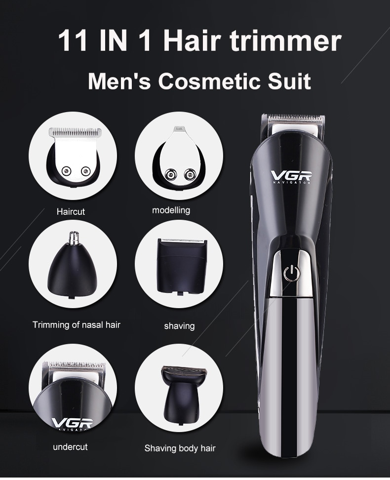 Multifunctional Hair Clipper Men's Razor Sideburner Eyebrow Trimmer Nose Hair Trimmer Six In One Detachable Washing Head With Ba enlarge