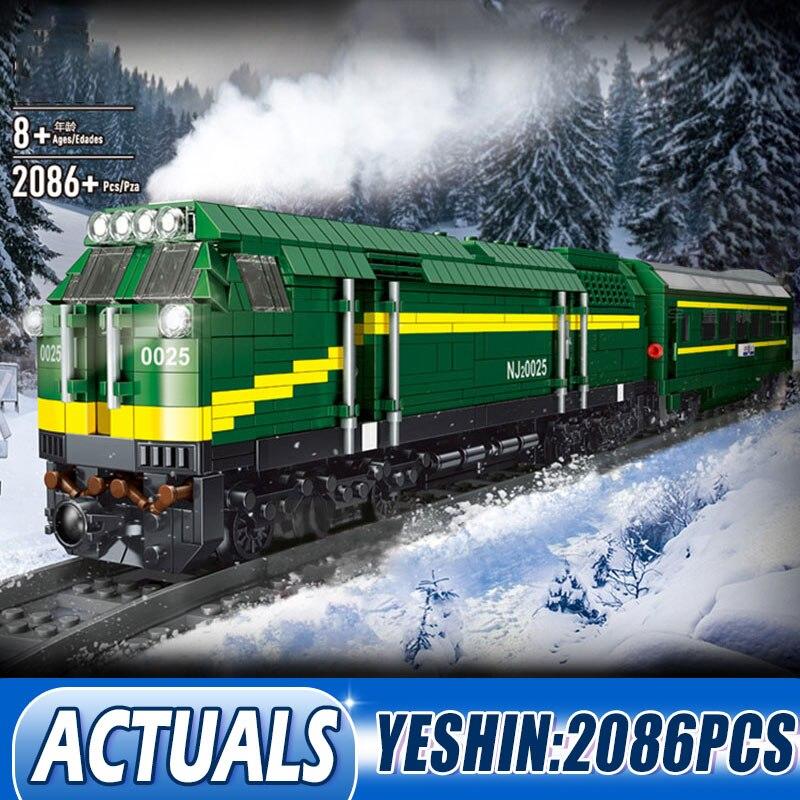 Tren de la ciudad de DHL tren de potencia China NJ2 tipo diésel locomotora tren de bloques de construcción ladrillos niños juguetes regalos