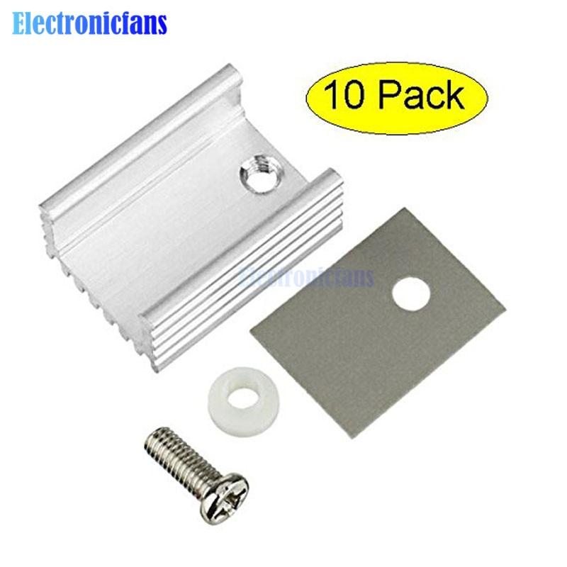 10pcs TO-220 Cooling Radiator Aluminum Sheet Heatsink Transistor Heat Sink Cooler Radiator Cooling For PC Computer Components