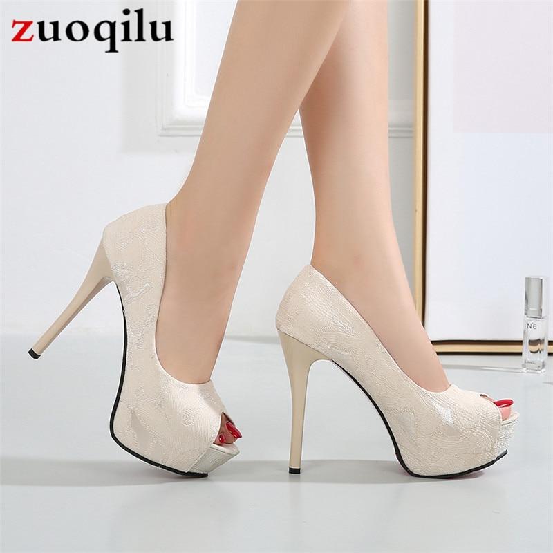 Zapatos de tacón alto con plataforma peep toe para mujer, zapatos de...