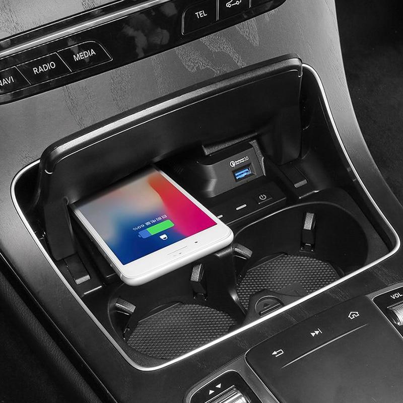Купить с кэшбэком Wireless charger for Mercedes Benz W205 AMG C43 C63 AMG GLC 43 GLC63 X253 C Class GLC accessories mobile phone fast charging