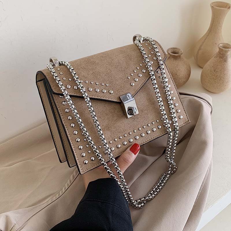 Scrub Leather Brand Designer Shoulder Simple Bags For Women 2021 Chain Rivet Luxury Crossbody Bag Female Fashion Small Handbags