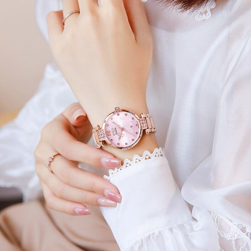 Watch Women's Stainless Steel Strap Mechanical Calendar Diamond-studded Women's Watch Waterproof Women's Watch enlarge