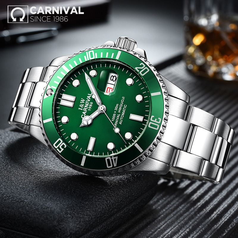 CARNIVAL New Fashion Men's Luminous Pointer Waterproof Business Calendar Stainless Steel Strap Automatic Watches Reloj Hombre enlarge