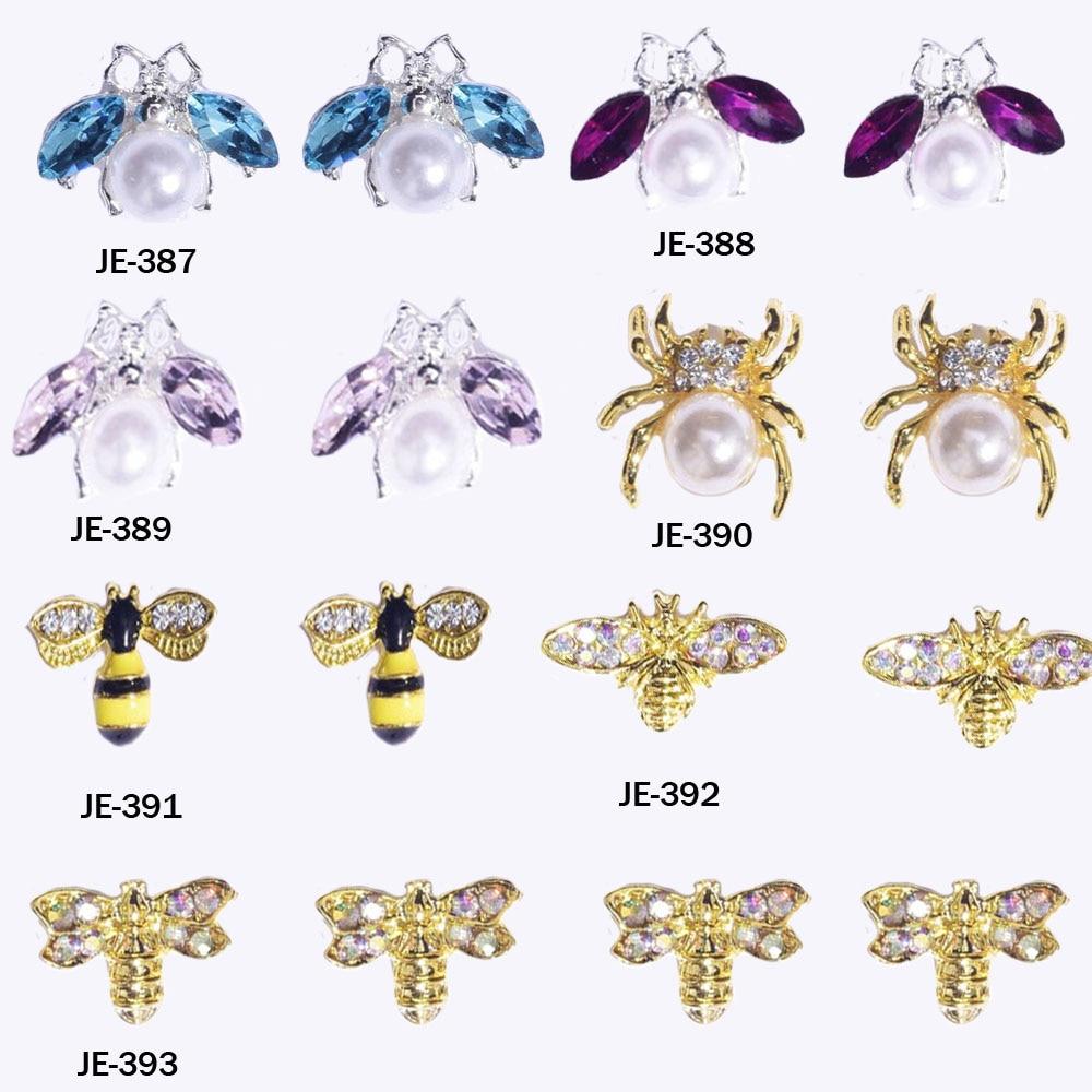 100 шт./лот 3D украшения для ногтей DIY Блеск Стразы пчела паук пчела бабочка аксессуары для ногтей JE387-393