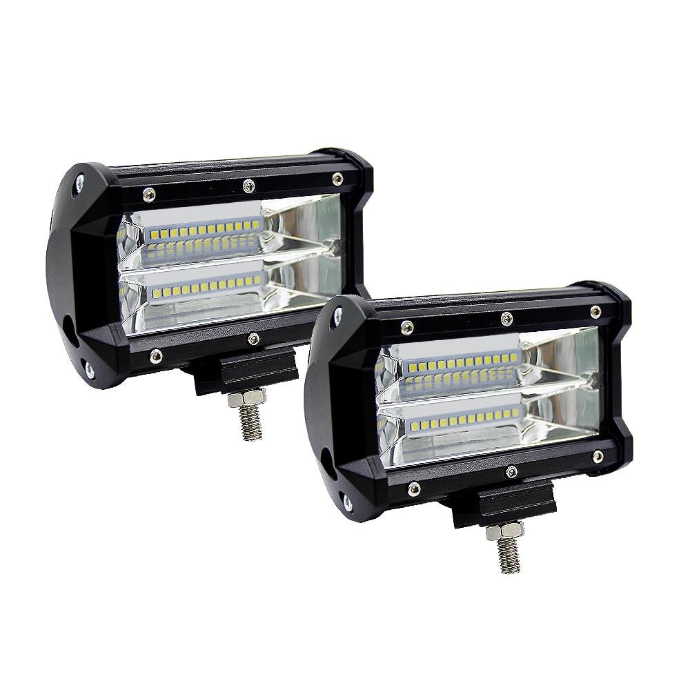 5 pulgadas 72W Offroad coche luz Led para camión Tractor barco remolque SUV ATV 12V 24V 48V 10800LM barra de luz LED Spot trabajo luz