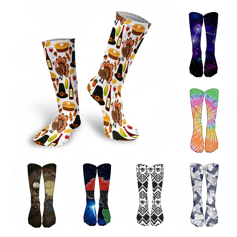 Funny 3D Printed Women Long Socks Street Hip Hop Sports High Knee Socks Novelty Design Harajuku Happy Women Socks Gift гольфы