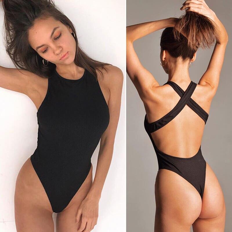 Ingoo body com costas cruzadas, colado feminino, decote redondo, preto ou branco, slim, sexy