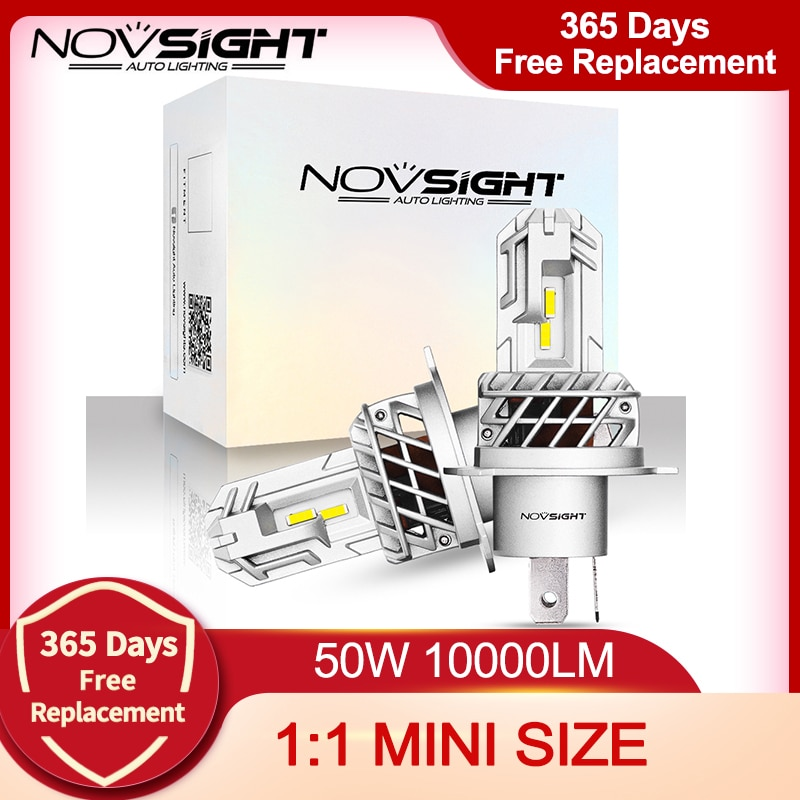 NOVSIGHT 1:1 Mini H4 LED H7 H1 H11 H8 HB4 9005 HB3 Auto Car Headlight Bulbs 50W 10000LM Car Accessories 6000K Led Fog Light