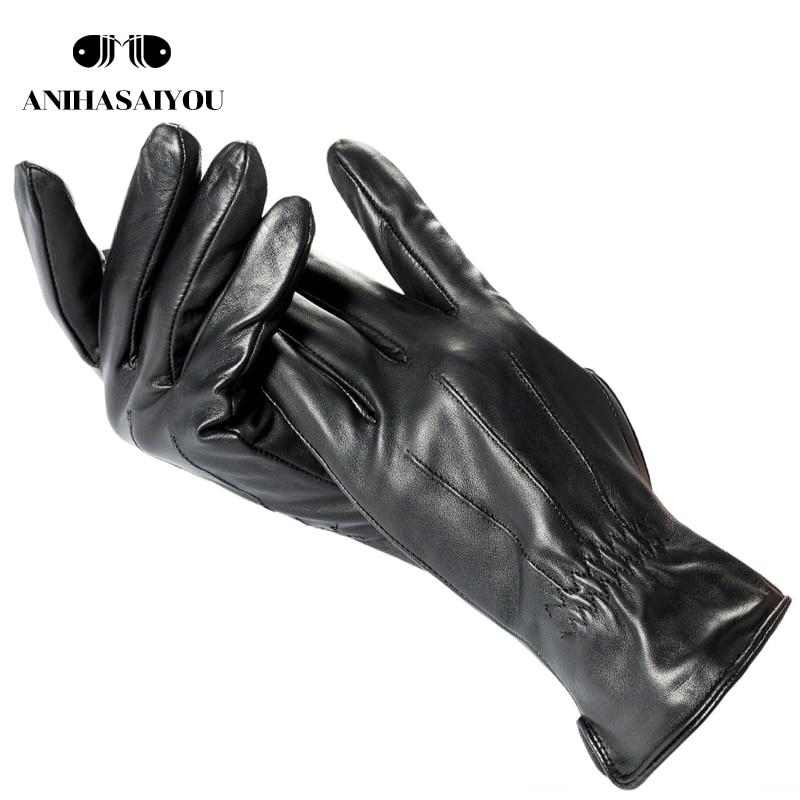 Driving thin soft mens leather gloves, warm winter gloves leather men's,black gloves male winter,sheepskin men's gloves-735