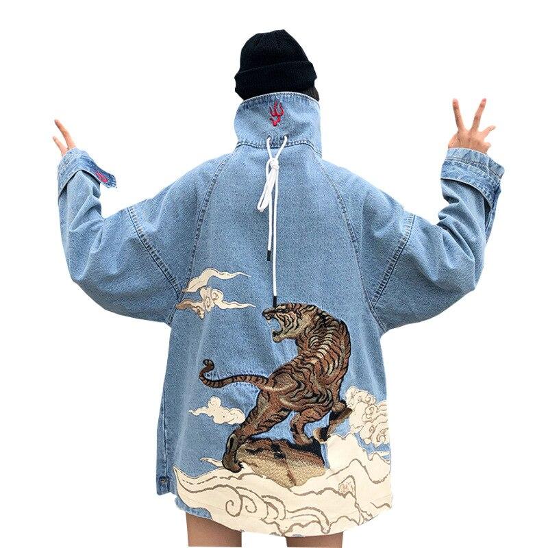 Outono inverno namorado bf denim jaqueta feminina vintage bordado impressão tigre casual casacos feminino casal jean casacos