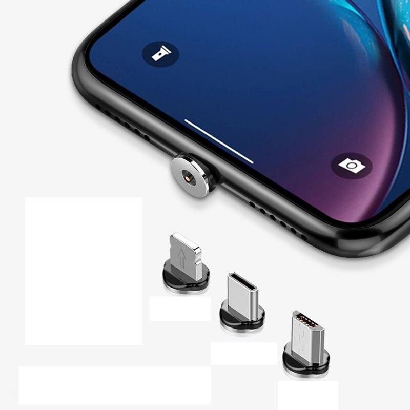 Круглые Металлические Магнитные адаптер кабельного штекера Вид аксессуаров C/Micro USB/8 pin быстрой зарядки Android Type-C кабель телефонные затычки против пыли-2