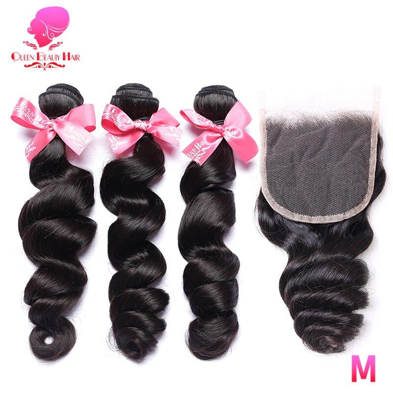 QUEEN BEAUTY 3 4 extensiones de pelo ondulado brasileño con cierre 12-28 pulgadas Natural Remy pelo humano mechones de ondas sueltas con cierre