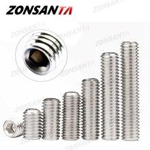 ZONSANTA-tornillo hexagonal de acero inoxidable, juego de manijas de puerta, Perno, M2, M2.5, M3, M4, M5, M6, M8, DIN916, 304
