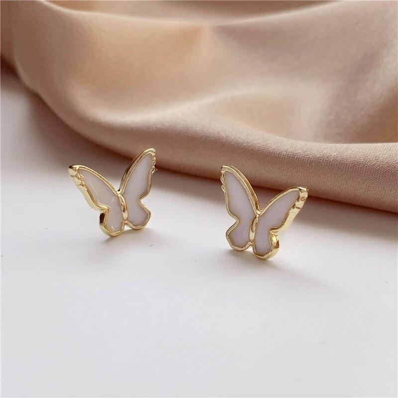 Brincos pequenos esmalte óleo branco borboleta feminino brincos charme piercing orelha brinco do parafuso prisioneiro do vintage jóias para menina brincos bonitos