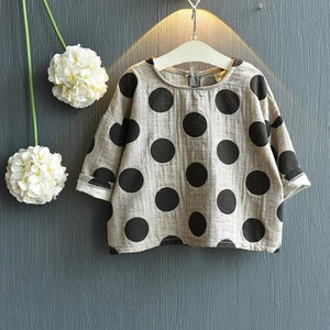 Children Clothes Baby Boys Girls Full Sleeve Blouse Kids Polka Dot Top Shirt Cotton Linen Fashion Baby Clothes
